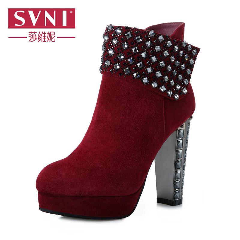 svni/莎维妮 2013冬季新款女短靴 磨砂真皮水钻高跟时装靴897-58 冬季新品女靴 欧美高跟水钻短靴
