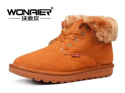 沃奈尔冬季男鞋高帮男士反绒牛皮雪地靴真皮短筒雪地靴棉靴加绒棉鞋855