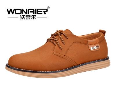 沃奈尔男鞋 商务休闲男士皮鞋 系带休闲鞋 真皮磨砂牛皮大码鞋子A18