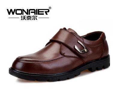 沃奈尔男鞋 商务正装皮鞋 男士休闲真皮正品牛皮时尚搭扣鞋子 6619
