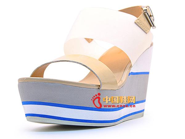 淘易铺苹果彩票主页网女鞋系扣女士裸色坡跟凉鞋57937