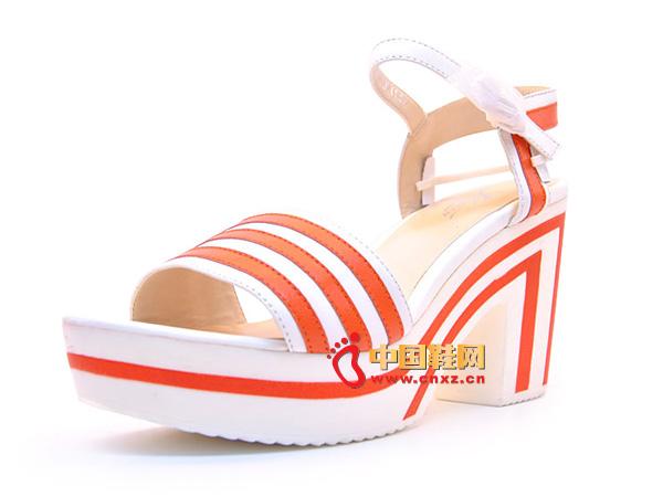 淘易铺橙白色粗跟系扣女士必备夏季凉鞋C0244-1