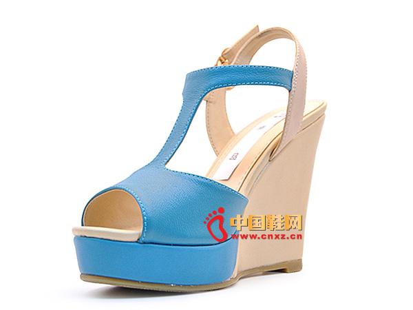 淘易铺蓝色气质系扣厚底女士凉鞋C0252-1