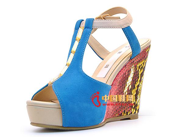淘易铺蓝色系扣厚底夏季必备女士坡跟凉鞋C0256-1