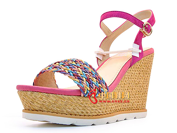 淘易铺玫红色编织夏季必备女士坡跟凉鞋C0255-1