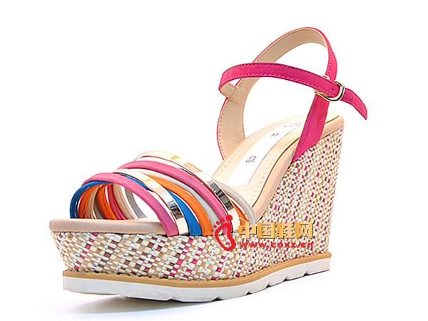 淘易铺红色编织系扣女士坡跟凉鞋C0254-1