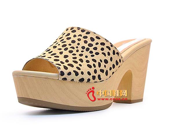 淘易铺黄色豹纹粗跟夏季必备女士凉拖C0253-1