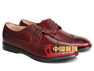 宝元鞋匠新款男鞋上市 时尚酒红色系绳休闲男士皮鞋