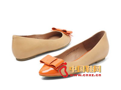 春季时尚女鞋,新款时尚百搭尖头蝴蝶结拼色平跟女单鞋