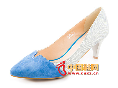 春季时尚女鞋,新款时尚百搭尖头拼色高跟女单鞋