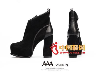 AAA黑色时尚防水台拉链超高跟低筒女靴