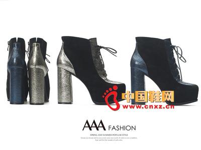 AAA时尚高帮系绳高跟低筒女靴