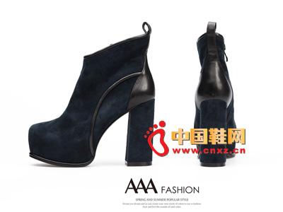 AAA蓝色时尚防水台拉链超高跟低筒女靴