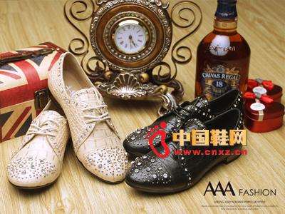 AAA时尚镶钻系绳休闲女士皮鞋