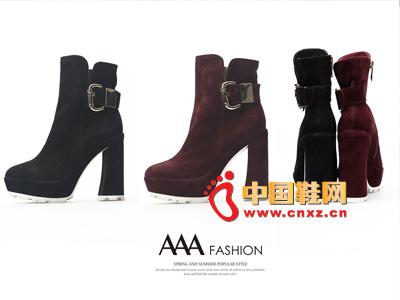 AAA时尚休闲高帮系扣高跟低筒女靴