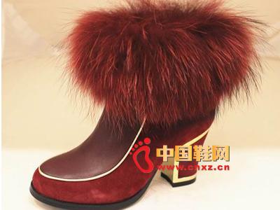 玛丽嘉儿2013秋冬款时尚女鞋上市 新款高跟毛绒短靴