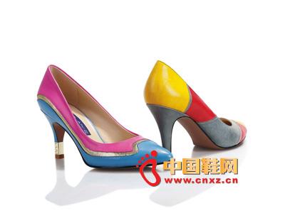 罗拉尼克2014新款女鞋 时尚尖头拼色高跟女鞋