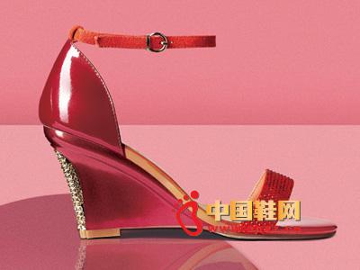 罗拉尼克2014新款女鞋 时尚红色系扣坡跟女凉鞋