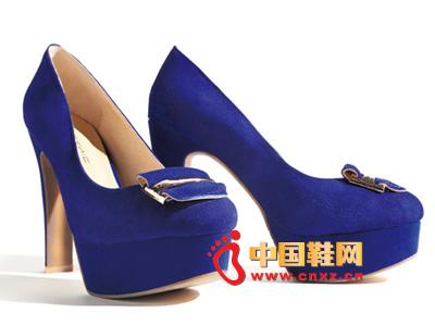 罗拉尼克2014新款女鞋 时尚蓝色防水台超高跟女鞋