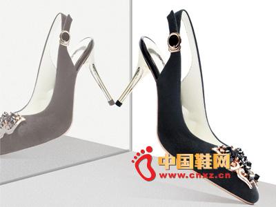 罗拉尼克2014新款女鞋 时尚黑色珠花系扣高跟女凉鞋