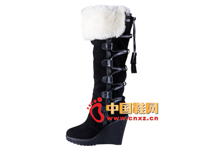 雅伦荻莎2014时尚新款女鞋 坡跟保暖长靴