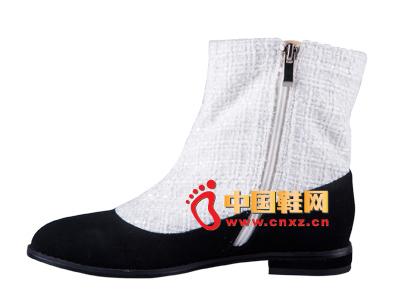 雅伦荻莎2014时尚新款女鞋 拼色休闲短靴