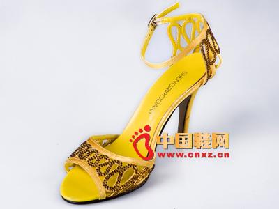 雅伦荻莎2014时尚新款女鞋 系扣高跟凉鞋
