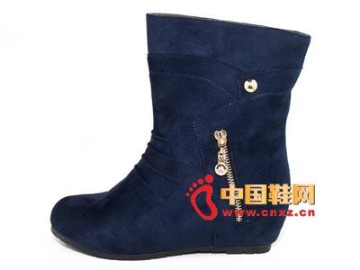 唐福轩老北京布鞋T055-499蓝 时尚女单棉靴