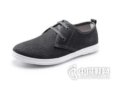 吉普森(JEPSEN)真皮男鞋 夏季新款韩版时尚休闲鞋 透气板鞋