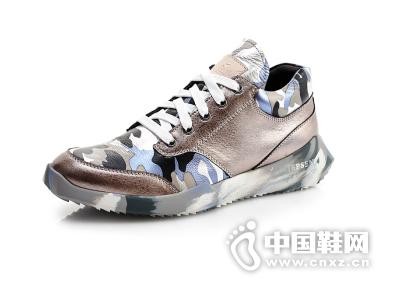 吉普森 时尚真皮男鞋 韩版系带潮流休闲鞋迷彩运动风鞋子男