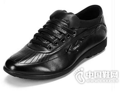 麦高 韩版男士休闲皮鞋 男鞋时尚真皮软底系带日常休闲鞋