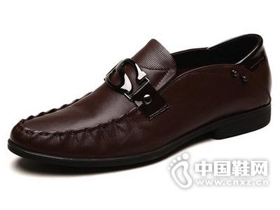 法顿男鞋 夏季男士商务休闲皮鞋英伦风真皮套脚牛皮男鞋懒人鞋