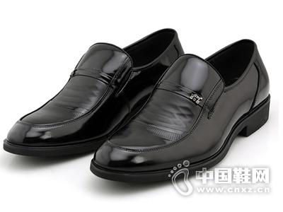 百牛圆男鞋真皮男单鞋 新款正品商务正装漆亮皮舒适套脚男鞋皮鞋