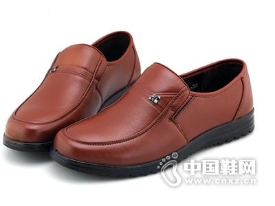 百牛圆舒适爸爸鞋真皮单鞋中老年人男鞋软底平跟休闲鞋
