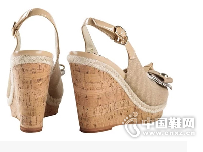 乐薇娅 甜蜜波普系列 帆布蝴蝶结坡跟女凉鞋