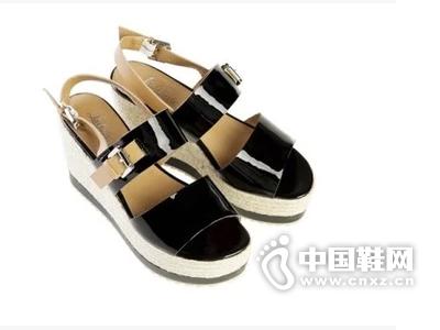 乐薇娅 本色系列 牛漆皮搭扣麻绳松糕坡跟女凉鞋