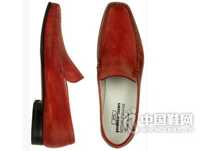 Pakerson Italian 红色手工皮质便鞋
