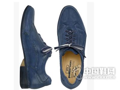 Pakerson Italian 蓝色手工皮质绑带鞋