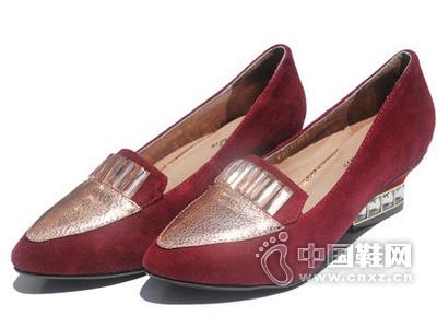 华哥龙登2015新款时尚女鞋亮片拼色粗跟真皮尖头女单鞋