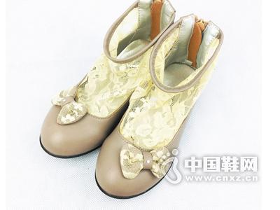 卡儿菲特卡尔菲特品牌女童中小童春秋蕾丝镂空单鞋皮鞋拉链短筒靴