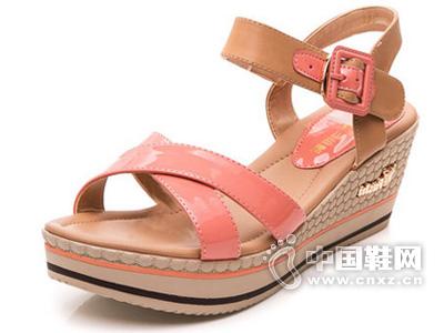 三雄麒 新款甜美交叉绑带坡跟凉鞋女高跟厚底拼色女鞋