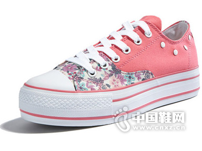 思威琪女鞋新款帆布鞋 韩版潮透气厚底松糕增高鞋