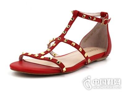 comely/康莉新款羊皮铆钉搭扣时尚欧美平底罗马凉鞋