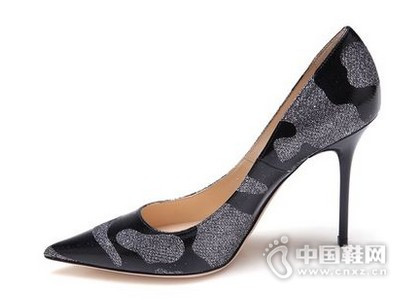 JIMMY CHOO周仰杰2016漆皮与银色网纱拼接尖头单鞋