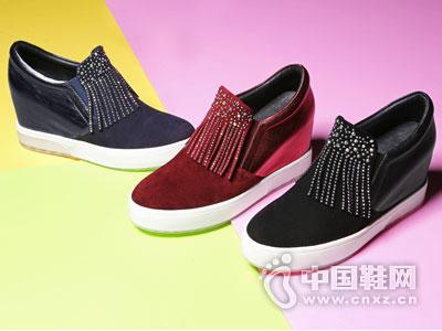 木林森帆布鞋2016坡跟休闲女鞋