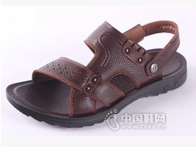 老鞋匠2016夏款头层牛皮套脚中老年沙滩鞋