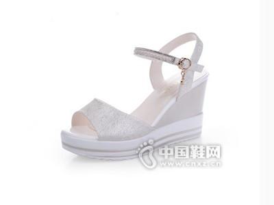 意利都坡跟凉鞋女夏高跟优雅松糕厚底防水台女凉鞋