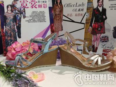 芭迪女鞋2016坡跟凉鞋