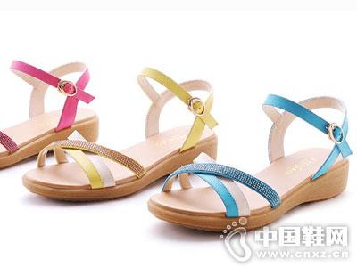 缝叶鸟女鞋2016新款坡跟凉鞋