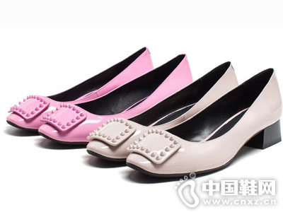 爱意时尚女鞋2016新款中跟单鞋